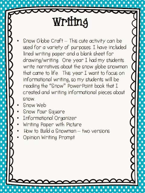 descriptive writing on snow Descriptive essay example: a mountain and you're disappointed because you see no sign of snow and you think you have come to write a descriptive.