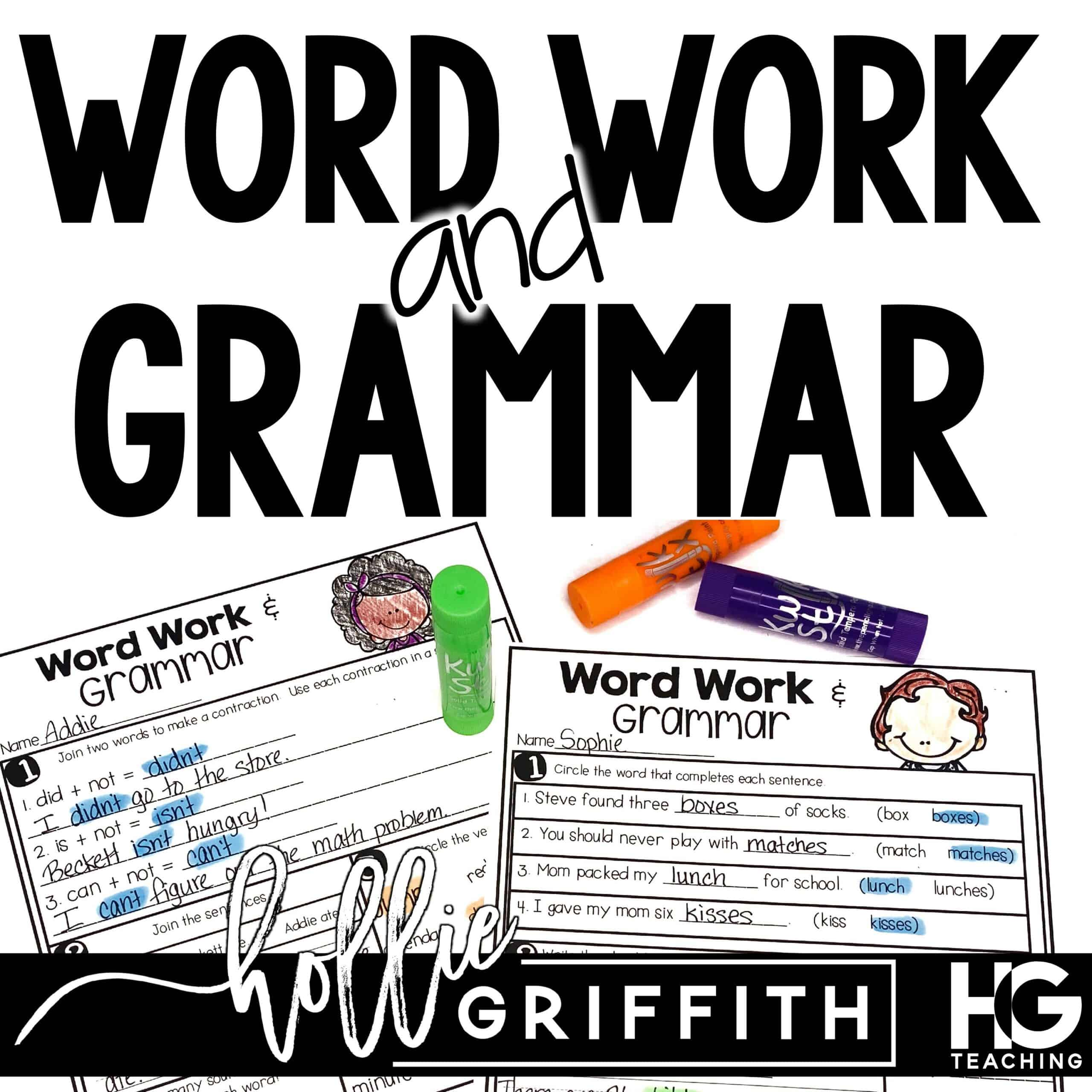 Word Work and Grammar Review Worksheets