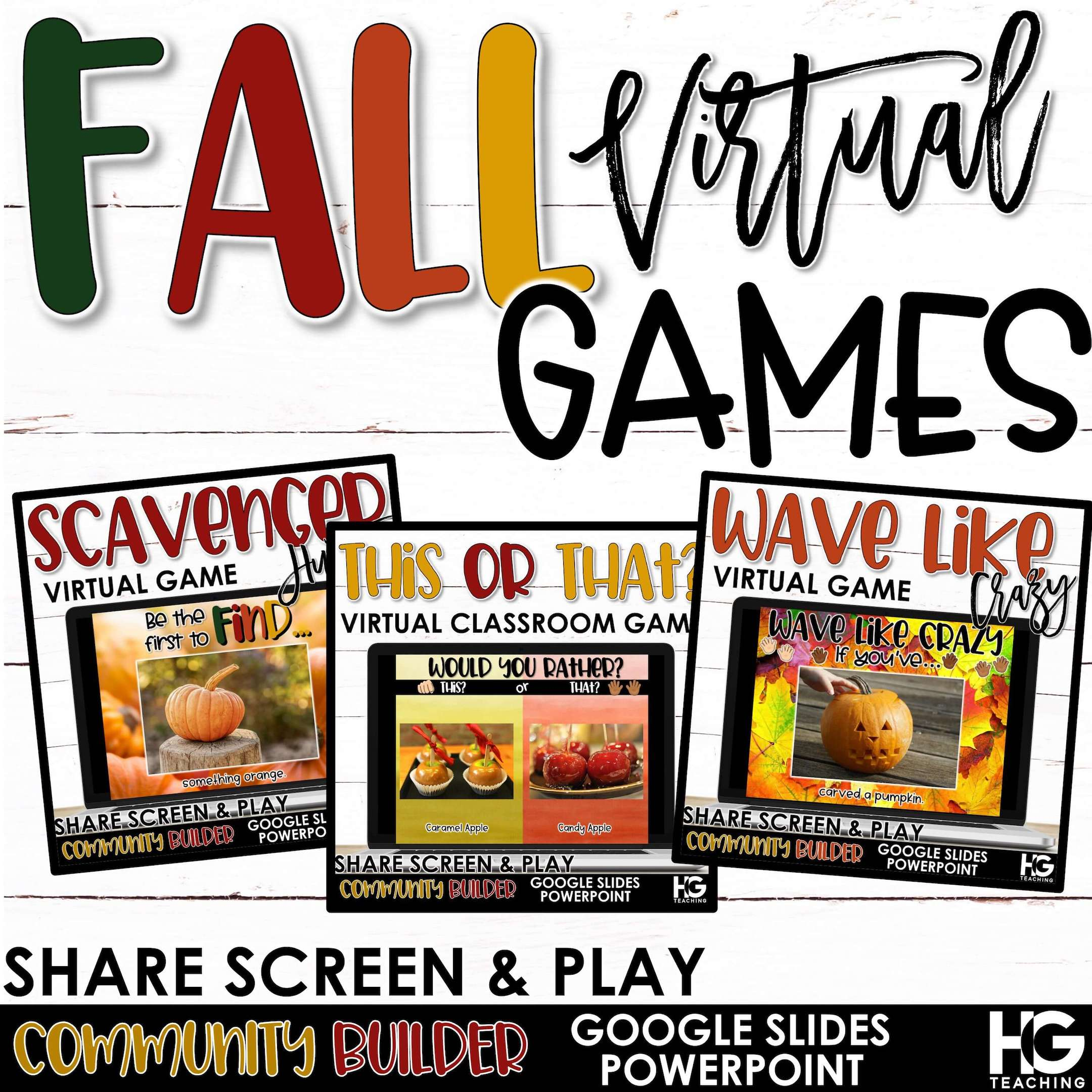 Virtual Classroom Games – Fall, Halloween, Thanksgiving